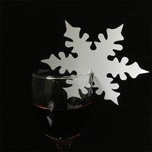 50pcs/lot Colourful Wedding Glass cards snowflake pattern cup cards party decoration wedding ornament(China)
