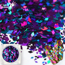 1g/box Nail Art Rhombus Diamond Designs Deep Color Mixed 3d Sequin Sticker Nail Glitterr 3D Slice Spangle Paillette TRLX09(China)