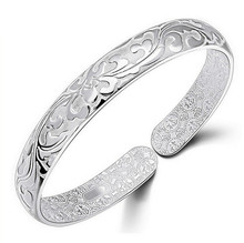 New 999 silver jewelry bracelets for women floral carved Korean style adjustable indian jewelry wholesale bracelets bangles 0529