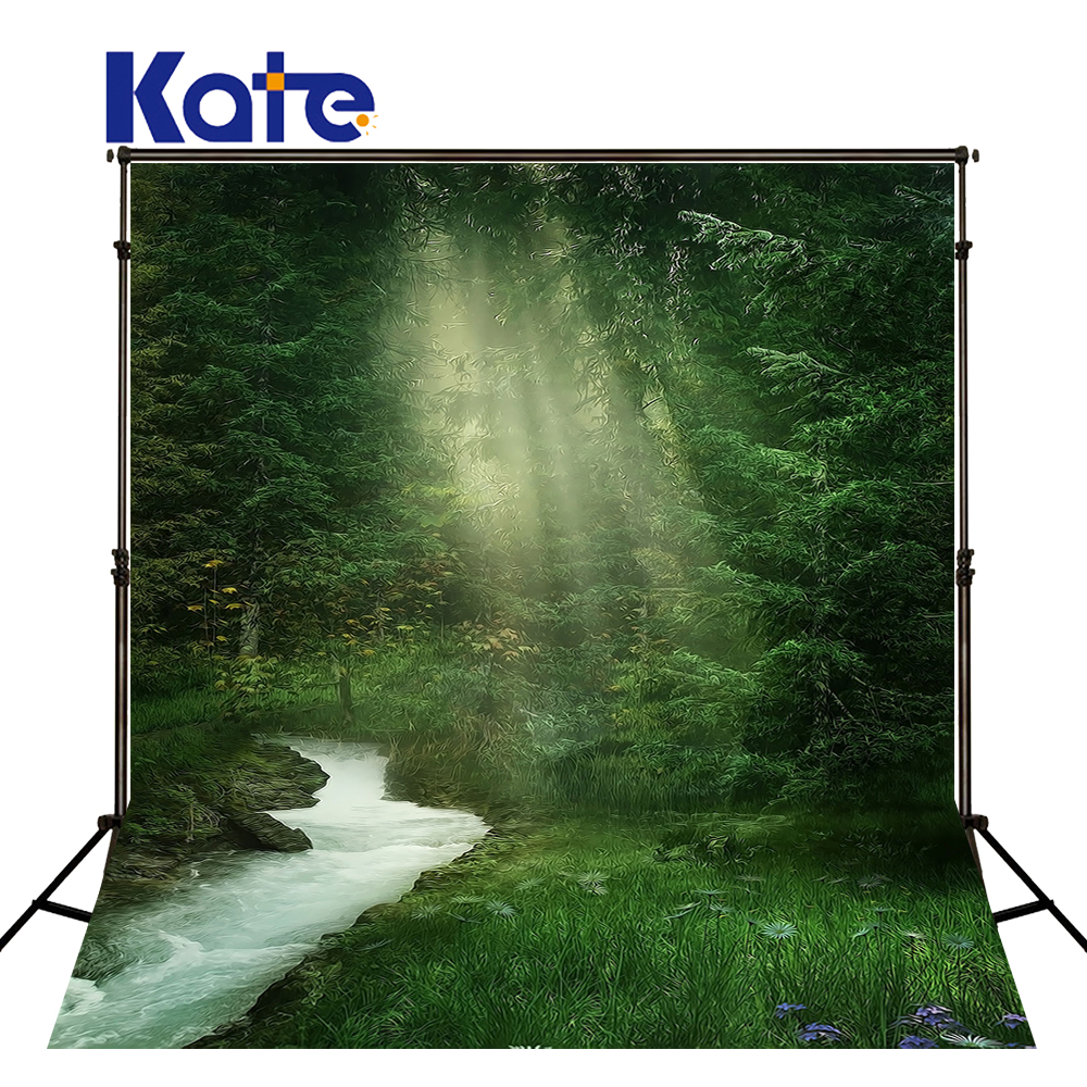 Kate 5x7ft Green Spring Nature Photo Backdrops Sunlight Forest Custom Photography Backdrops Creek Camera Backdrop<br>