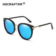 36949623e6046 HDCRAFTER rodada espelhado óculos de sol das mulheres moda tendy oval óculos  de sol dos homens marca retro óculos de sol do dese.
