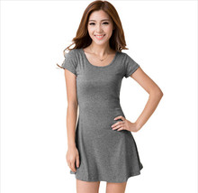EAS women summer dress New Korean Girl Mini Dress Short Sleeve Candy Color One-piece Slim Basic Dresses