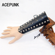 Fashion Copper Spike Rivet Leather Bracelet High Quality Punk Cool Man Bracelet Wax Rope Adjustable Size Wristband Bracelets(China)