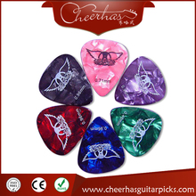 1000pcs customized personalized pearl marbled celluloid guitar pick plectrum with one color one side logo pad printing