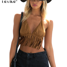 Summer Halter Straps Cropped Top Women Tassel Suede Beach Tops Ladies Brown Deep V-Neck Backless Females Bohe Tee Top SWL0308-45