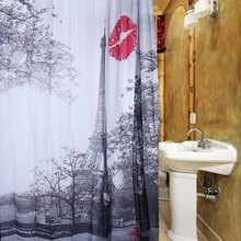 2016 Hot Grey Paris Eiffel Tower Red Lip Design Pattern Waterproof Polyester Bath Curtain with 12 Plastic Buckles For Bathroom