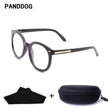 PANDDOG Plastic Eyewear Frame Myopia Fashion Vintage Sport Outdoor Solid Round Glasses Wemen With Glasses Case And Cloth 9711(China)