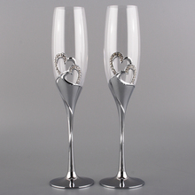 high quality new fashion toasting wedding wine glasses set double heart champagne flutes metal stem goblet love birthday gifts