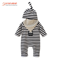 2017 Spring baby boy clothes fashion full cotton stripe owl newborn kids boy clothing set rompers + hat + Bib baby born clothes(China)