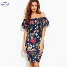 NFIVE Brand 2017 New Summer Women Explosion Strapless Slash Collar Ruffle Print Pencil Dress Fashion Sexy Leisure Holiday Dress(China)