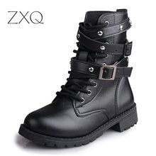 Hot Sale Fashion Women Motorcycle Boots Ladies Vintage Rivet Combat Army Punk Goth Ankle Shoes Biker Leather Autumn women boots