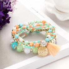 17KM 2017 New Crystal Multicolor Beads Weave Bracelet Tassel Multilayer Steampunk Love Bracelets For Women Pulseira Accessories(China)