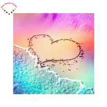 HOT scenic Diy magic diamond painting heart shape at the beach new crafts hand counted cross stitch kits pattern Kit handmade(China)