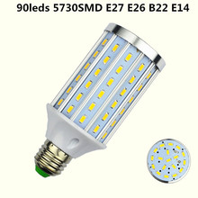 E27 LED 90LEDS 5730 SMD real 20W Aluminum Corn Light B22 Lamp E26 Bulb AC 85-265V Bombillas E14 LED ampoule Factory lighting