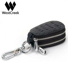 Westcreek Brand Fashion Double Zippers Man Housekeeper Car Key Wallets Genuine Leather Arc Key Holders Alligator Women Key Bag