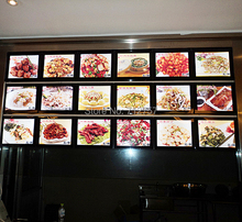 Free shipping A4 size aluminum frame magnetic acrylic panel wall mounted led menu boards