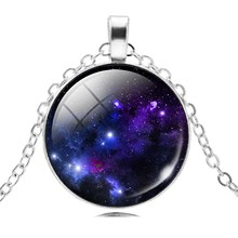 2017 New Fashion Galaxy Necklaces Nebula Space Glass Cabochon Pendants Brand Jewelry for Women Men Best Friend Ship Gift(China)