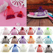 Wholesales 50pcs 7x9cm Organza Bags Drawable Jewelry Pouch for Wedding Favor Christmas Decorations Candy Bag Diy Gift Packing