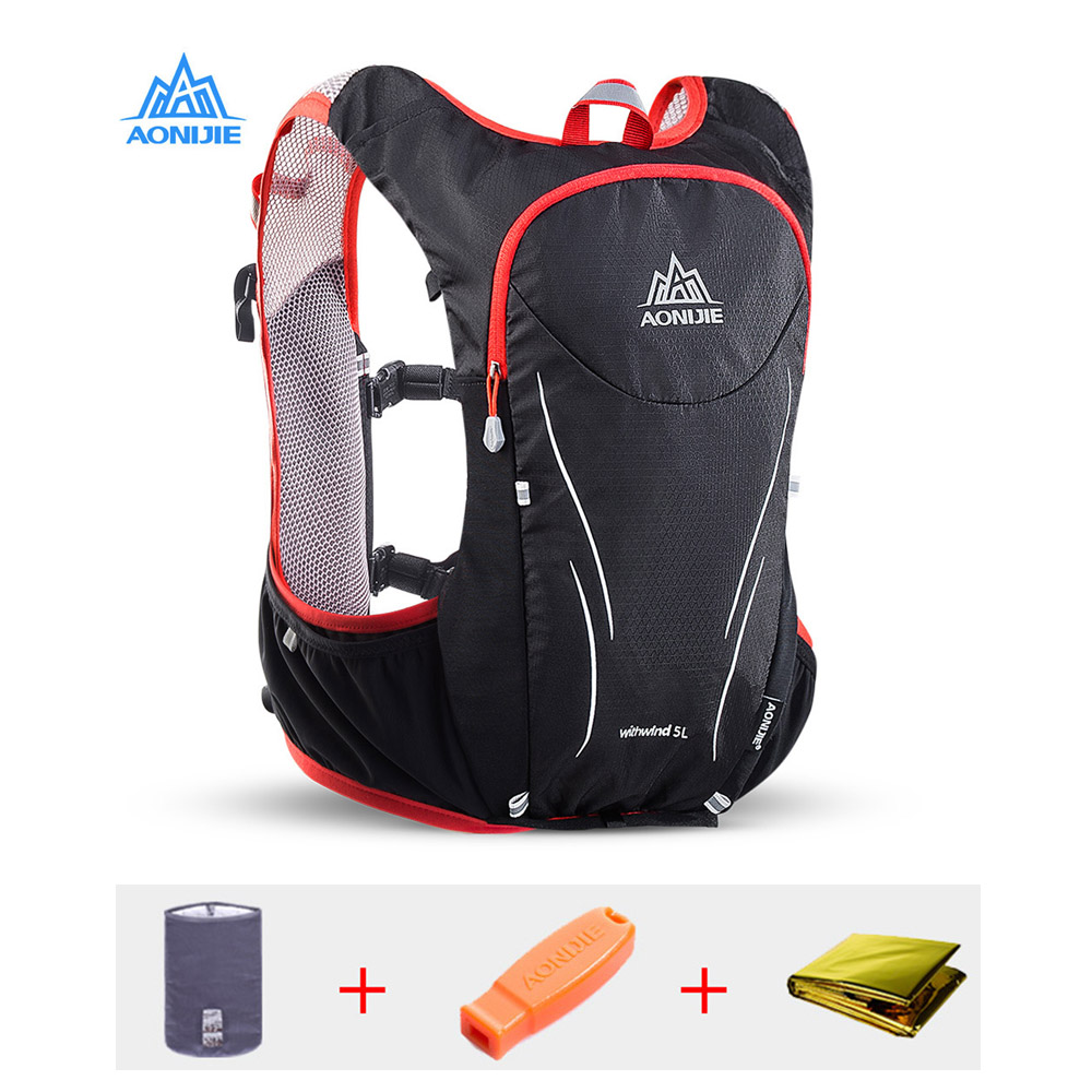 AONIJIE 5L Upgraded Marathon Hydration Vest Pack for 2L Water Bag Trail Running Backpack Bag Outdoor Sports Reflective Backpack<br>