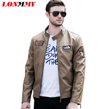 LONMMY 4XL Pilot Leather jacket men Motorcycle PU Bomber mens leather jackets Stand collar military coat men Suede 2017(China)