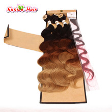 Rainbow Color Ombre Brazilian Body Wave Hair Weft Clip In Cheap Synthetic Perruque 3 Pieces Hair Weft 1 Closure Synthetic Wavy(China)