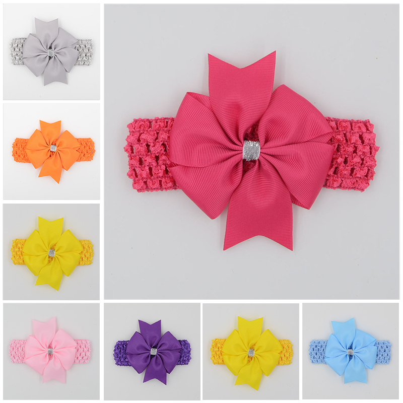 Classic headbands hair elastic bands ribbon bows kids head wraps accessory lace satin flower hairband headwrap(China)