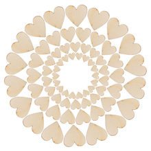 100pcs Rustic Wood Wooden Love Heart Wedding Table Scatter Decoration Crafts DIY good quality
