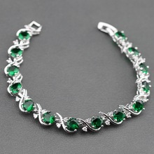 Sterling Silver Flawless Green Created Emerald Bracelet Health Fashion  Jewelry For Women Free Jewelry Box SL134