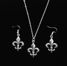 New Vintage Fleur de Lis Antique Silver Charm Earring & Pendant Necklace Jewelry Set Gift 5 Set/lot
