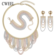 Women Wedding New Mix Three Colors White/ Rose Gold Color Beads Statement Necklace Earrings Bracelet Gold Tassel Jewelry Sets