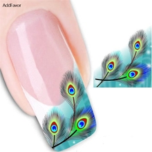 AddFavor 3Pcs Peacock Feather Pattern Nail Sticker Nail Art Fake Tattoo Watermark Manicure Long-lasting Nail Art Sticker Decal(China)