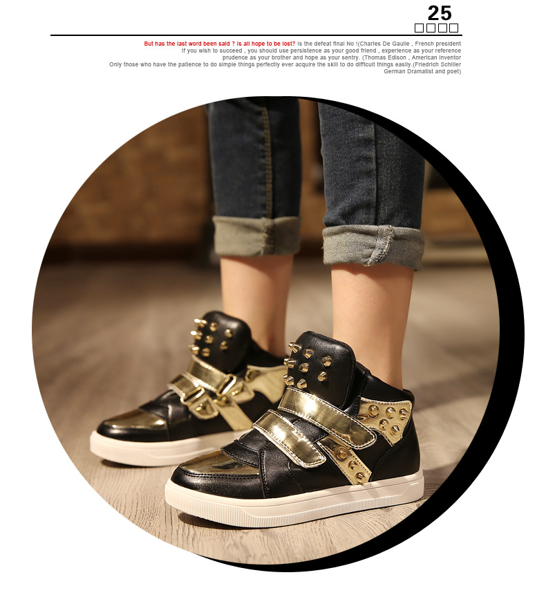 Kids Shoes Glowing Sneakers Baby Boys Girls Sport Shoes New Autumn tenis infantil Children Sneakers Black White with Gold Rivet 19