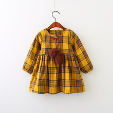 Girl Fall Dresses 2017 New Kids Cotton Plaid Dresses Fashion High-grade Princess Belle Dress Elegant Cute Princess Clothing