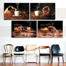 Vintage Painting Canvas Art wall Picture Whiskey Coffee Wall Pictures For Living Room Modern Oil Paintings Vintage Home Decor