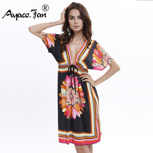 Buy 7 Colors Summer Style Casual Silk Dresses Women Dress Sexy Deep V-Neck Sundresses Ethnic Floral Print Tunic Female Beach Dresses for $9.41 in AliExpress store