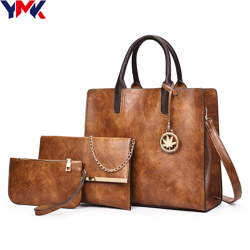 YMK Brand Vintage Leather Bag Women Shoulder Bag Ladies Large Capacity Crossbody Bag Female 3 Sets Handbag+Small Purse<br>
