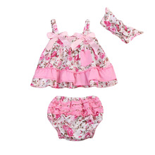 Newborn Baby Girls Floral Ruffles Tunic Tops icing Shorts Headband Toddler Girl Sleeveless Clothes Set(China)