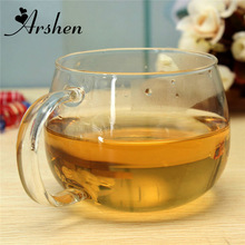 Arshen 300ml Glass Cups Heat Resisting Clear Handmade Crystal Mini kungfu Tea Coffee Milk Tea Round Drink Mug Fashion Brief