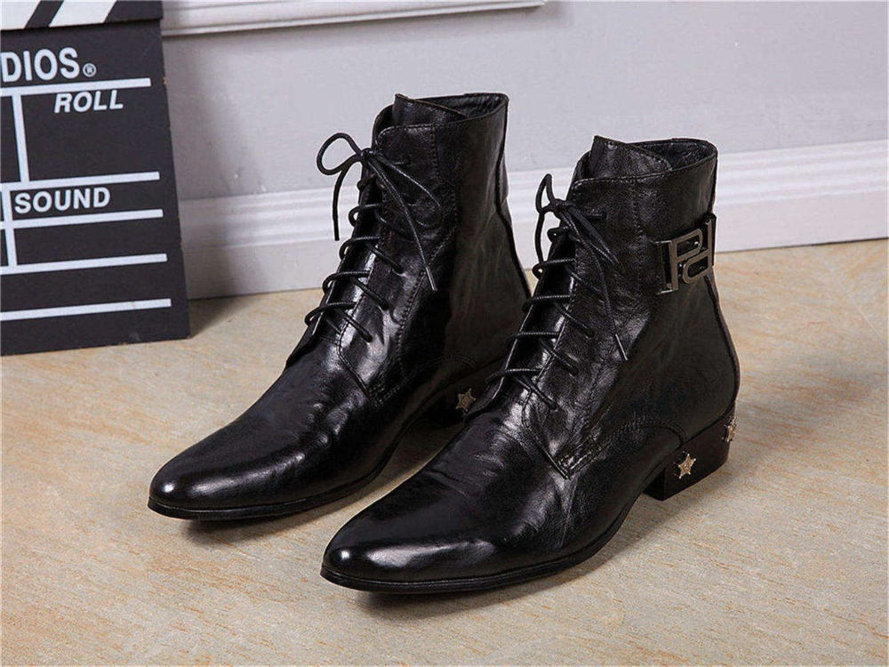 Mid Heel Ankle Genuine Cow Leather Mens Height Increasing Boots New Arrival Lace up Shoes Boots Chaussure homme 913 GZSL<br><br>Aliexpress