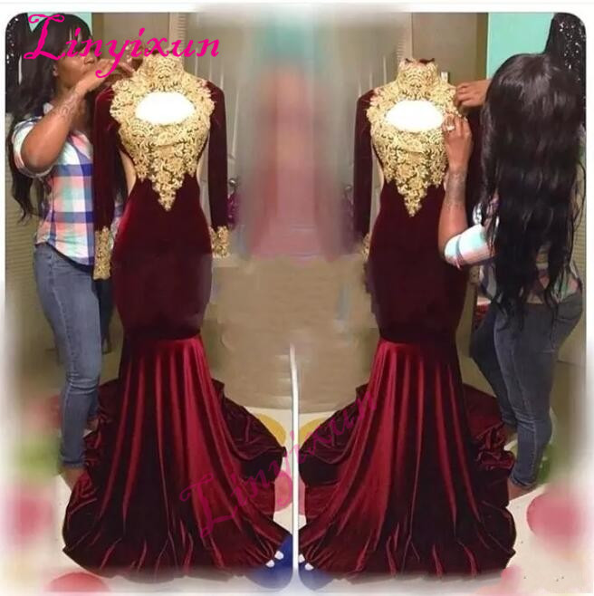 African Burgundy Velvet Mermaid Prom Dresses 2018 Sexy Keyhole High Neck Evening Dress Long Sleeves Vintage Party Gown