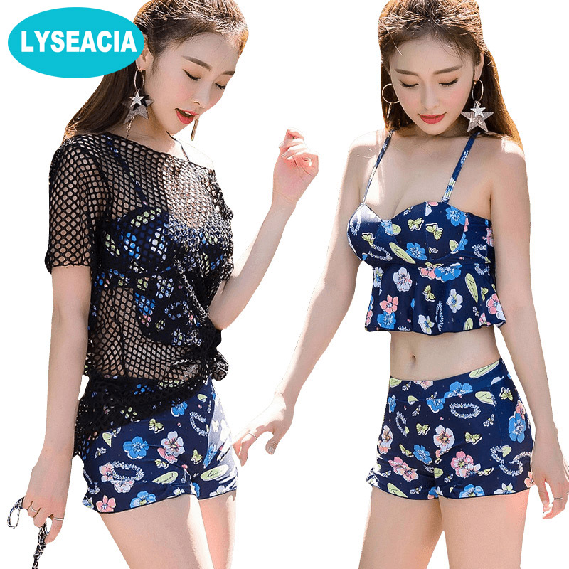 LYSEACIA Push Up Bikinis Women Mesh Blouse Swimsuit Vintage Three Piece Suit Bikini Set Swimwear for Women Beach wear Swim suit <br>