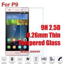 Cheap Ultra Thin 9H 2.5D 0.26mm Phone LCD Display Accessories Tempered Temper Glass Verre For Huawei Hauwei P9 EVA-L29 EVA-L09