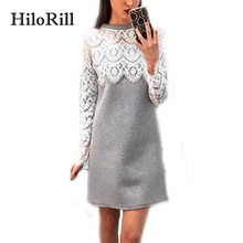 Buy HiloRill Women Dress 2017 Fashion Long Sleeve Lace Midi Dress Elegant Patchwork Short Party Dresses Bodycon Dress Vestidos Mujer for $10.49 in AliExpress store