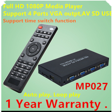 JEDX MP027 1080p Full HD Ultra Portable Digital Media Player with 4Ports VGA CVBS For USB Drives and SD/SDHC Cards