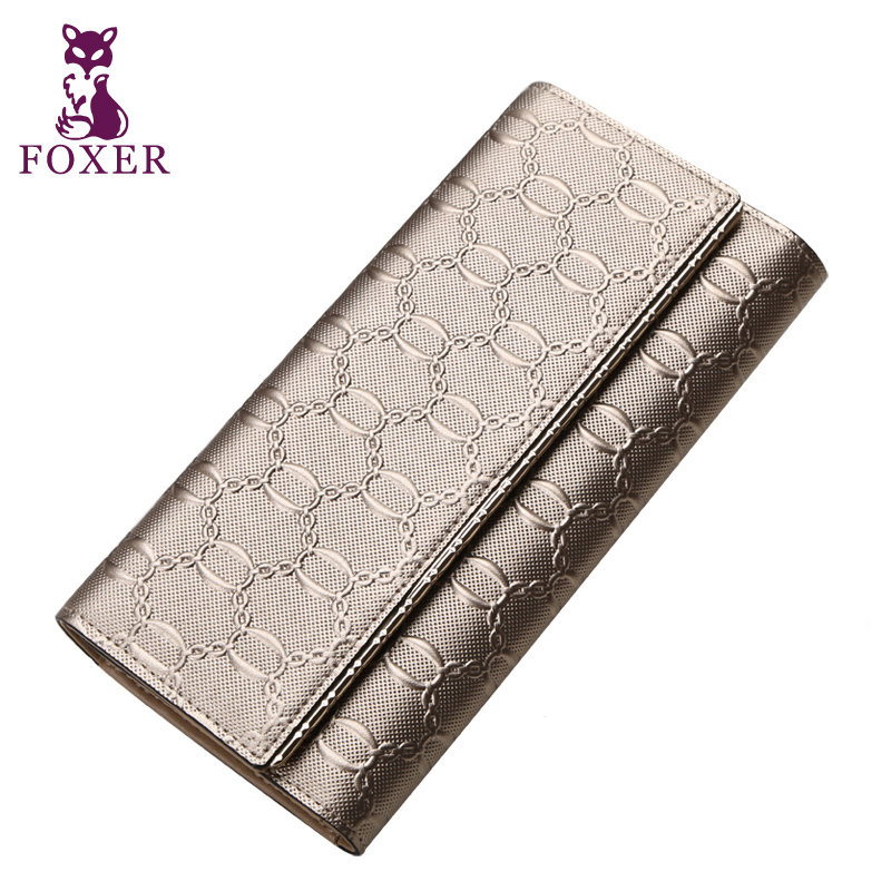 FOXER women leather wallet female purse brand wallets 2018 fashion Embossing luxury clutch purses card holder<br>
