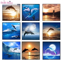Dolphin Full Square Mosaic Painting Diy 5D Diamond Painting 3D Cross Stitch Kits Diamond  Embroidery Handmade Animal Crafts