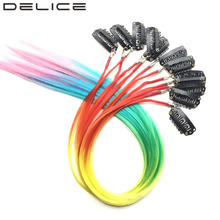 [DELICE] 50pcs/Lot Clip In Multicolour Rainbow Ombre Synthetic Grizzly Hair Extensions(China)