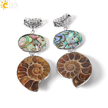 CSJA New Zealand Natural Abalone Shell Fossils Reliquiae Animal Pendant for Necklace Sea Snail  Ammonite Men Jewellery Gift E257
