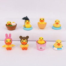 8pcs/lot 3-4cm Yellow Duck Action Figure Toys, Rabbit Swimming Yellow Duck Figure Dolls, Toys For Children, Christmas Gifts Toys(China)