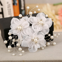 pearl lace flower hair comb handmade bridal hair accessories wholesale silver white headpiece wedding Banquet jewelry